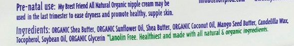 My Brest Friend All Natural Nipple Cream Ingredients