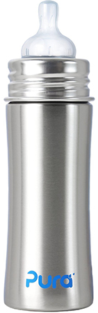 Pura Kiki Stainless Steel Infant Bottle Stainless Steel with Natural Vent Nipple