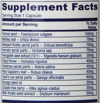 Vitanica Lactationblend Nursing Support Ingredients
